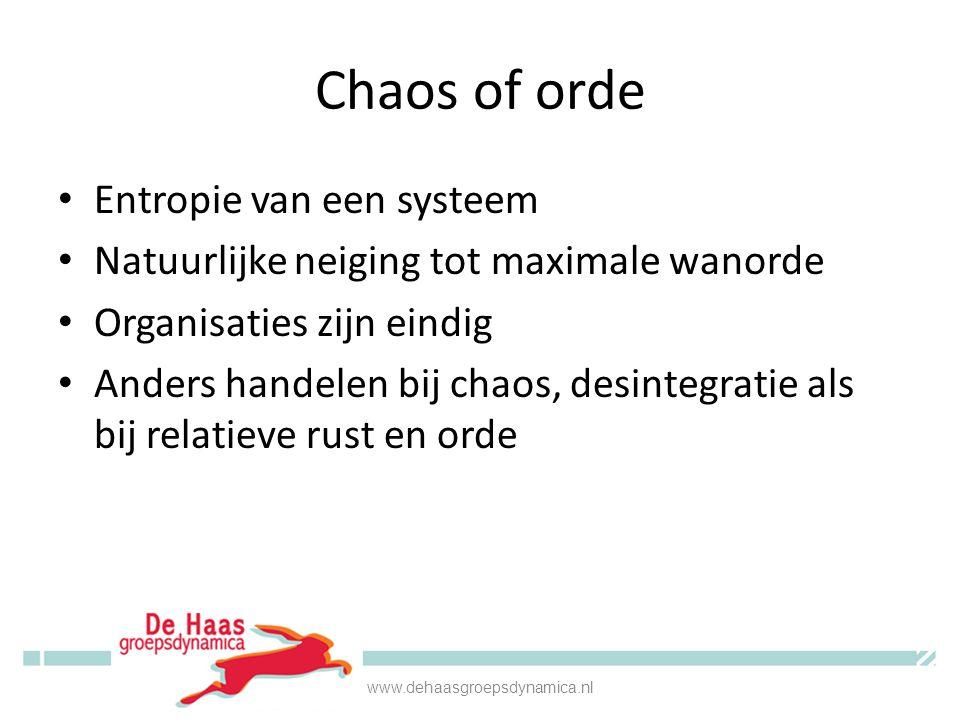 Chaos of orde • Entropie van een systeem • Natuurlijke neiging tot maximale wanorde • Organisaties zijn eindig • Anders handelen bij chaos, desintegratie als bij relatieve rust en orde www.dehaasgroepsdynamica.nl