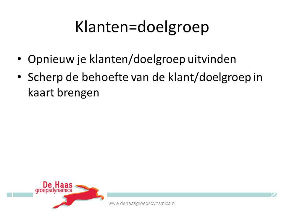 Klanten=doelgroep • Opnieuw je klanten/doelgroep uitvinden • Scherp de behoefte van de klant/doelgroep in kaart brengen www.dehaasgroepsdynamica.nl