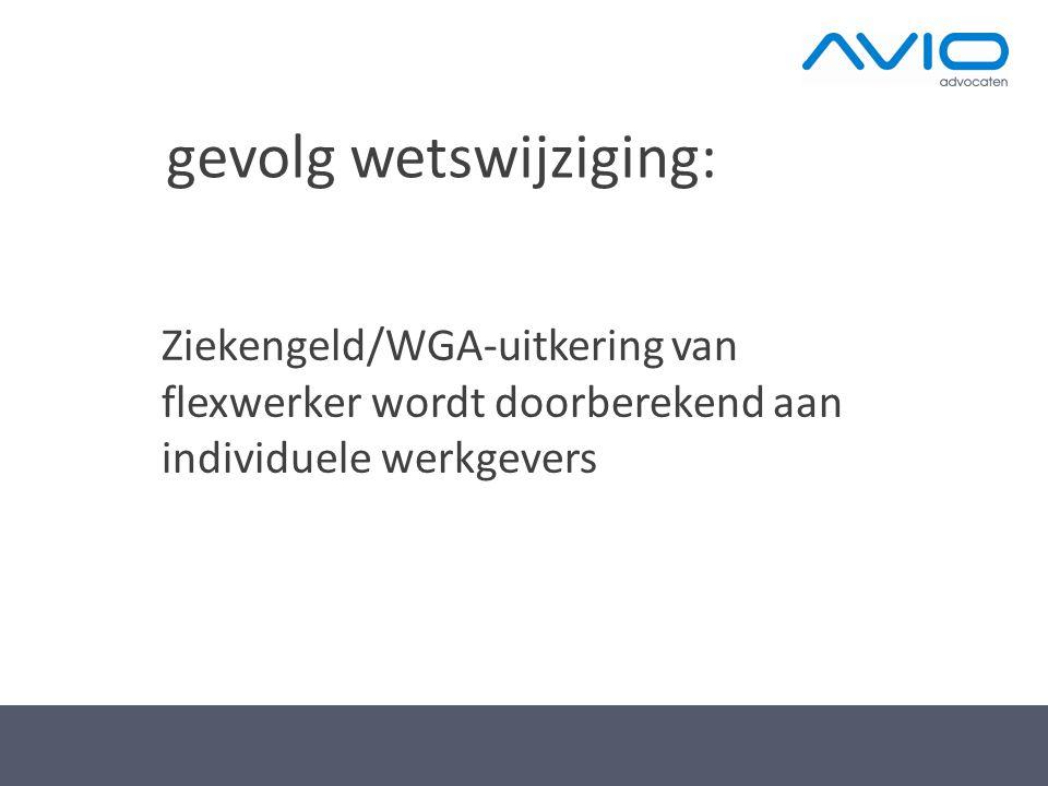 gevolg wetswijziging: Ziekengeld/WGA-uitkering van flexwerker wordt doorberekend aan individuele werkgevers