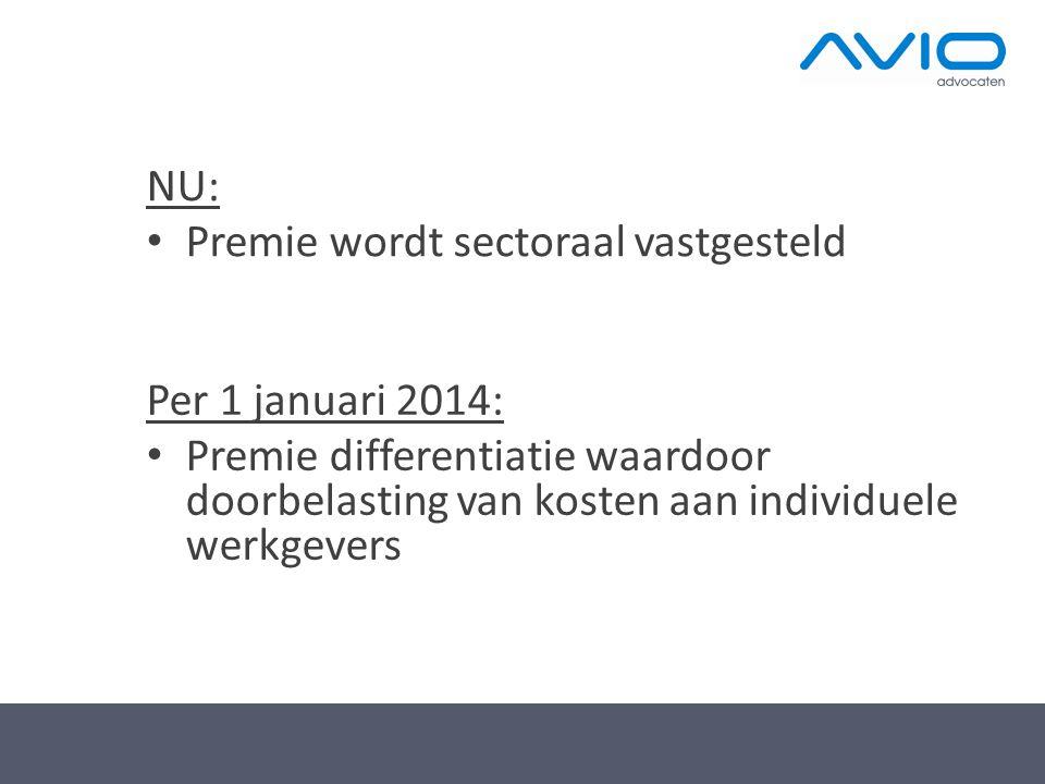 NU: • Premie wordt sectoraal vastgesteld Per 1 januari 2014: • Premie differentiatie waardoor doorbelasting van kosten aan individuele werkgevers