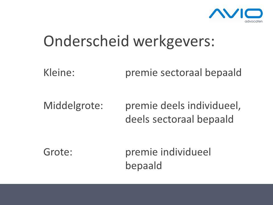 Onderscheid werkgevers: Kleine: premie sectoraal bepaald Middelgrote: premie deels individueel, deels sectoraal bepaald Grote: premie individueel bepa