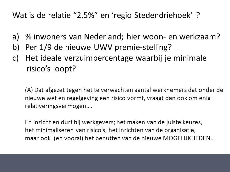 """Wat is de relatie """"2,5%"""" en 'regio Stedendriehoek' ? a)% inwoners van Nederland; hier woon- en werkzaam? b)Per 1/9 de nieuwe UWV premie-stelling? c)He"""