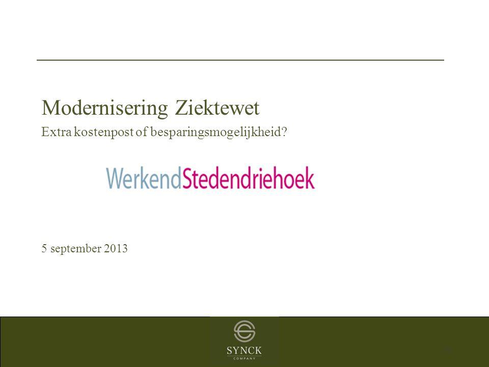 31 Modernisering Ziektewet Extra kostenpost of besparingsmogelijkheid? 5 september 2013