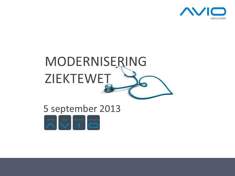MODERNISERING ZIEKTEWET 5 september 2013