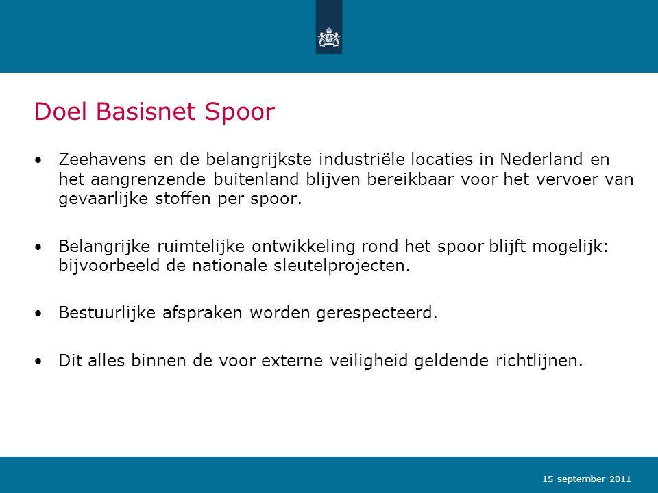 Doel Basisnet Spoor •Zeehavens en de belangrijkste industriële locaties in Nederland en het aangrenzende buitenland blijven bereikbaar voor het vervoe