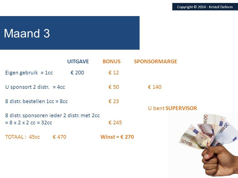 Copyright © 2014 - Kristof Deferm Maand 3 UITGAVE BONUS SPONSORMARGE Eigen gebruik = 1cc € 200 € 12 U sponsort 2 distr.= 4cc € 50€ 140 8 distr. bestel