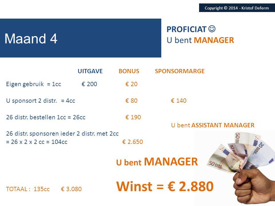Copyright © 2014 - Kristof Deferm Maand 4 UITGAVE BONUS SPONSORMARGE Eigen gebruik = 1cc € 200 € 20 U sponsort 2 distr.= 4cc € 80€ 140 26 distr. beste