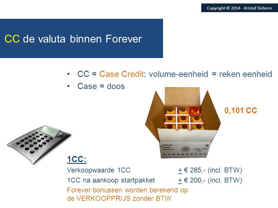 •CC = Case Credit: volume-eenheid = reken eenheid •Case = doos 1CC: Verkoopwaarde 1CC + € 285,- (incl. BTW) 1CC na aankoop startpakket+ € 200,- (incl.