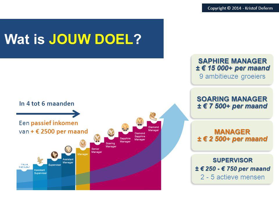 Wat is JOUW DOEL? Nieuwe Distributeur SUPERVISOR ± € 250 - € 750 per maand 2 - 5 actieve mensenSUPERVISOR ± € 250 - € 750 per maand 2 - 5 actieve mens