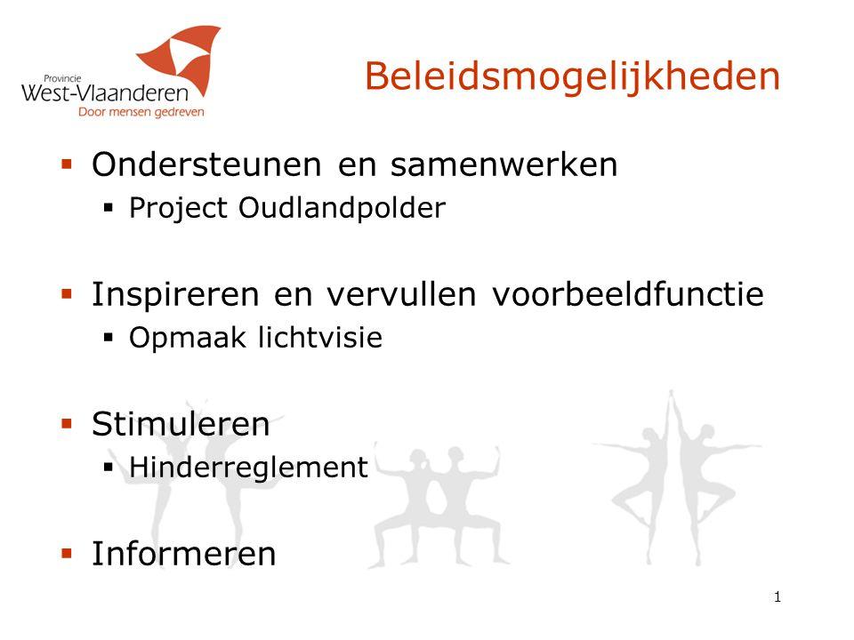 Beleidsmogelijkheden  Ondersteunen en samenwerken  Project Oudlandpolder  Inspireren en vervullen voorbeeldfunctie  Opmaak lichtvisie  Stimuleren