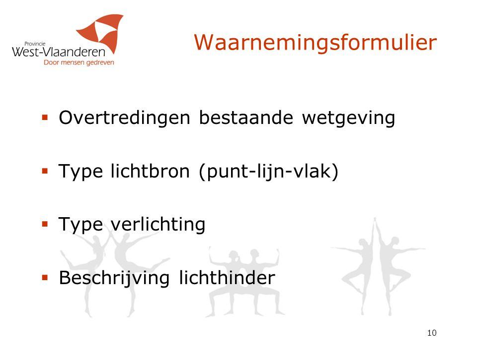 10 Waarnemingsformulier  Overtredingen bestaande wetgeving  Type lichtbron (punt-lijn-vlak)  Type verlichting  Beschrijving lichthinder