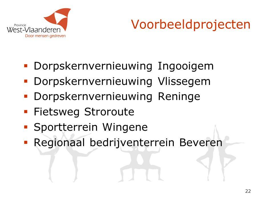 22 Voorbeeldprojecten  Dorpskernvernieuwing Ingooigem  Dorpskernvernieuwing Vlissegem  Dorpskernvernieuwing Reninge  Fietsweg Stroroute  Sportter