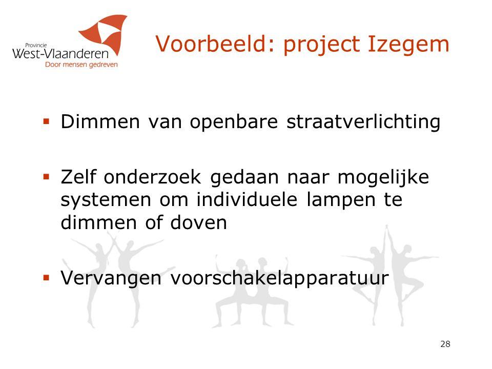 28 Voorbeeld: project Izegem  Dimmen van openbare straatverlichting  Zelf onderzoek gedaan naar mogelijke systemen om individuele lampen te dimmen o