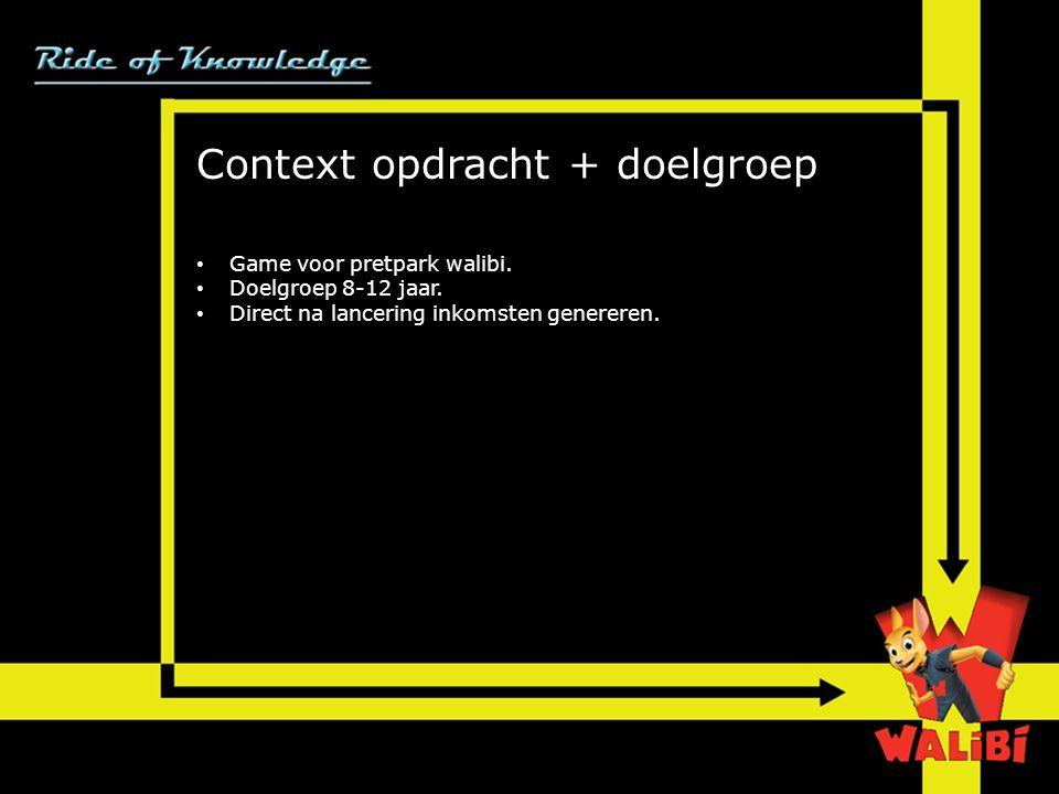 Context opdracht + doelgroep • Game voor pretpark walibi.
