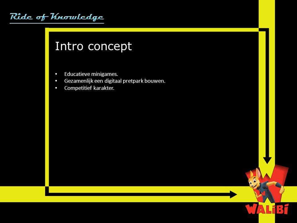 Intro concept • Educatieve minigames.• Gezamenlijk een digitaal pretpark bouwen.
