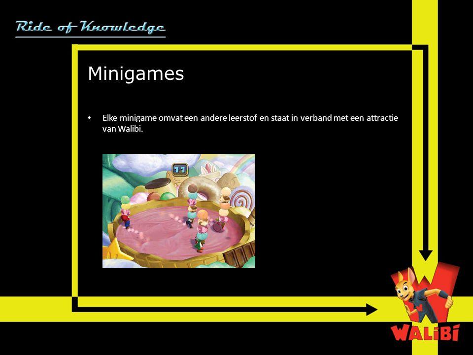 Minigames • Elke minigame omvat een andere leerstof en staat in verband met een attractie van Walibi.
