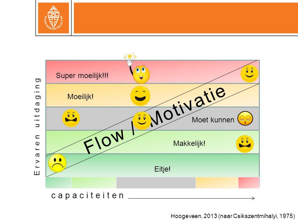 Flow / Motivatie Ervaren uitdaging Moet kunnen Moeilijk.