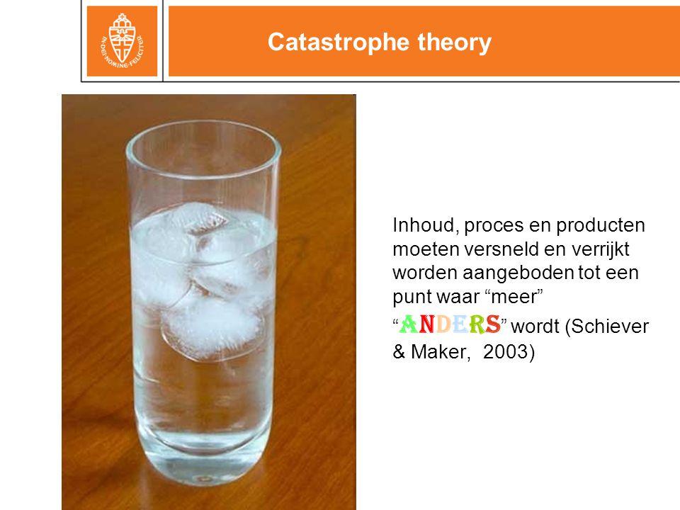 Catastrophe theory Inhoud, proces en producten moeten versneld en verrijkt worden aangeboden tot een punt waar meer anders wordt (Schiever & Maker, 2003)