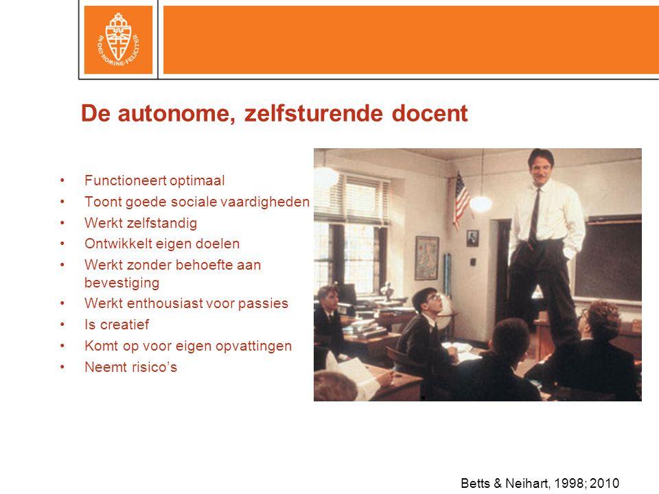 De autonome, zelfsturende docent •Functioneert optimaal •Toont goede sociale vaardigheden •Werkt zelfstandig •Ontwikkelt eigen doelen •Werkt zonder behoefte aan bevestiging •Werkt enthousiast voor passies •Is creatief •Komt op voor eigen opvattingen •Neemt risico's Betts & Neihart, 1998; 2010