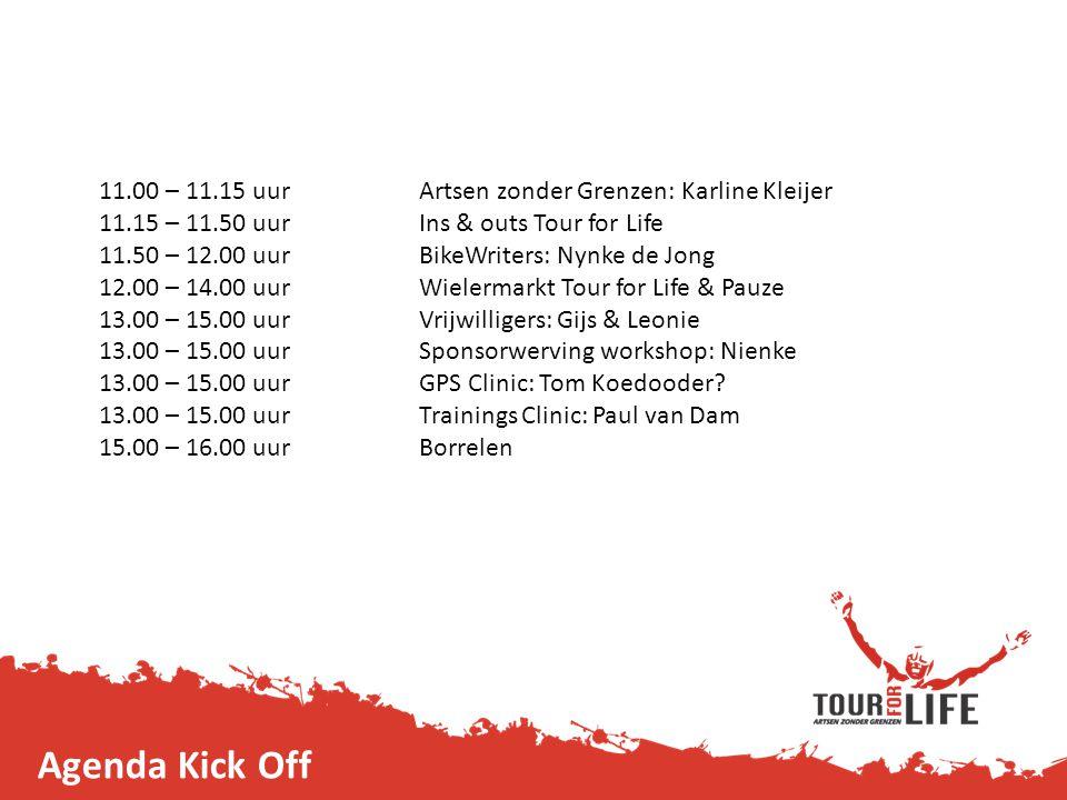 11.00 – 11.15 uurArtsen zonder Grenzen: Karline Kleijer 11.15 – 11.50 uurIns & outs Tour for Life 11.50 – 12.00 uur BikeWriters: Nynke de Jong 12.00 –
