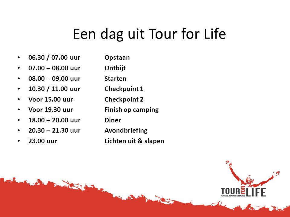 Een dag uit Tour for Life • 06.30 / 07.00 uurOpstaan • 07.00 – 08.00 uurOntbijt • 08.00 – 09.00 uurStarten • 10.30 / 11.00 uurCheckpoint 1 • Voor 15.0