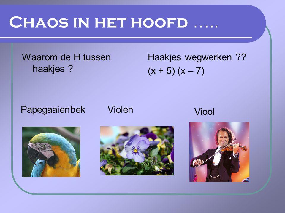 Chaos in het hoofd ….. Waarom de H tussen haakjes ? Haakjes wegwerken ?? (x + 5) (x – 7) Papegaaienbek Violen Viool