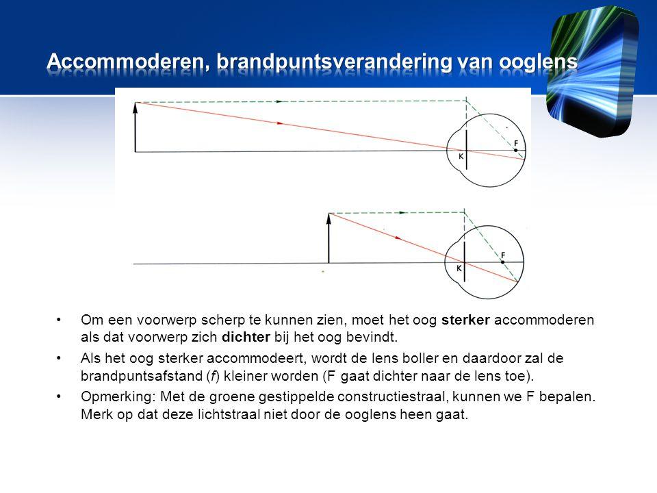 •Om een voorwerp scherp te kunnen zien, moet het oog sterker accommoderen als dat voorwerp zich dichter bij het oog bevindt.