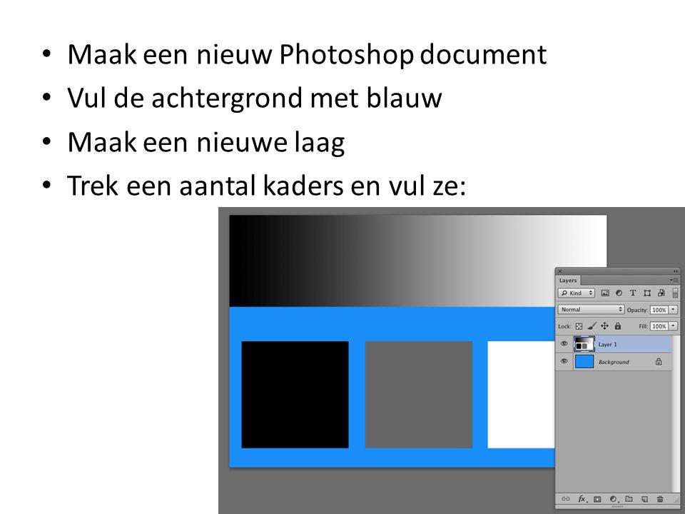 • Maak een nieuw Photoshop document • Vul de achtergrond met blauw • Maak een nieuwe laag • Trek een aantal kaders en vul ze: