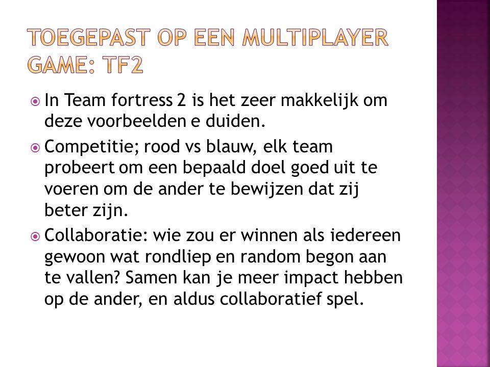  In Team fortress 2 is het zeer makkelijk om deze voorbeelden e duiden.  Competitie; rood vs blauw, elk team probeert om een bepaald doel goed uit t