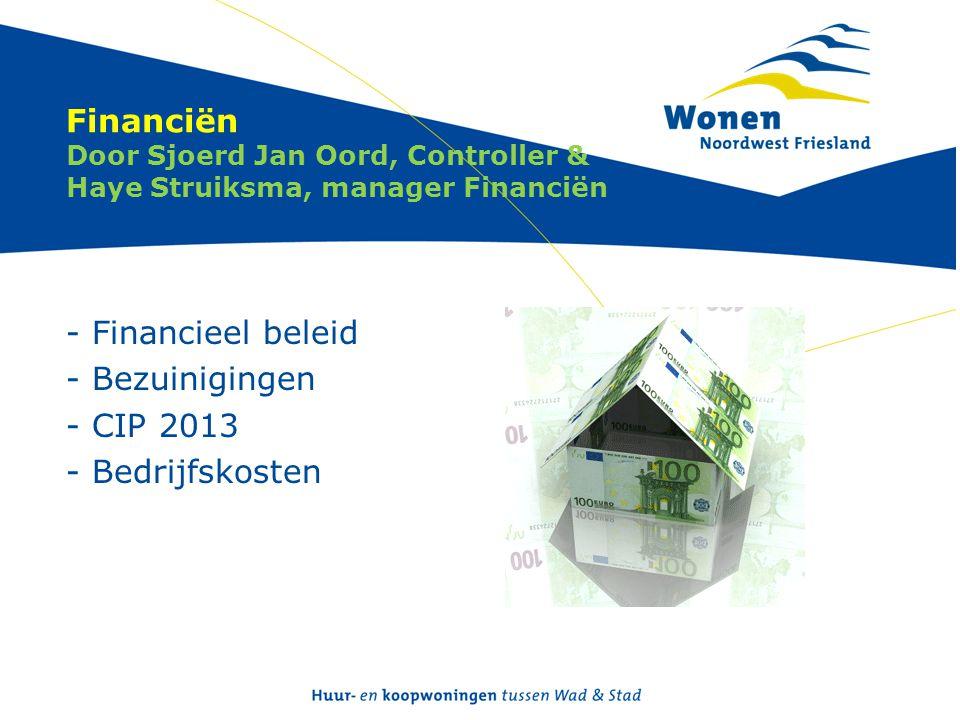 Financiën Door Sjoerd Jan Oord, Controller & Haye Struiksma, manager Financiën - Financieel beleid - Bezuinigingen - CIP 2013 - Bedrijfskosten