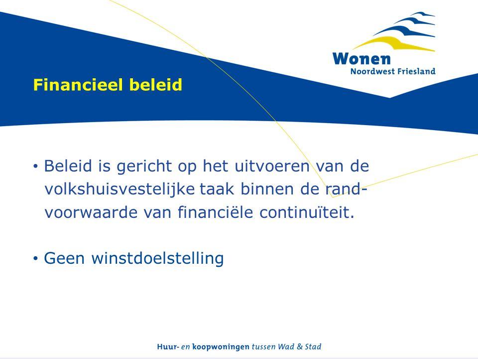 Financieel beleid • Beleid is gericht op het uitvoeren van de volkshuisvestelijke taak binnen de rand- voorwaarde van financiële continuïteit. • Geen