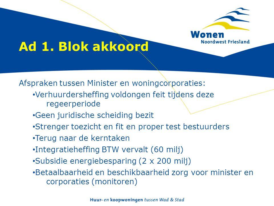 Ad 1. Blok akkoord Afspraken tussen Minister en woningcorporaties: • Verhuurdersheffing voldongen feit tijdens deze regeerperiode • Geen juridische sc