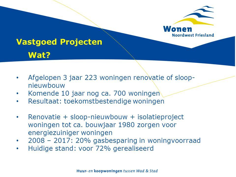 Vastgoed Projecten Wat? • Afgelopen 3 jaar 223 woningen renovatie of sloop- nieuwbouw • Komende 10 jaar nog ca. 700 woningen • Resultaat: toekomstbest