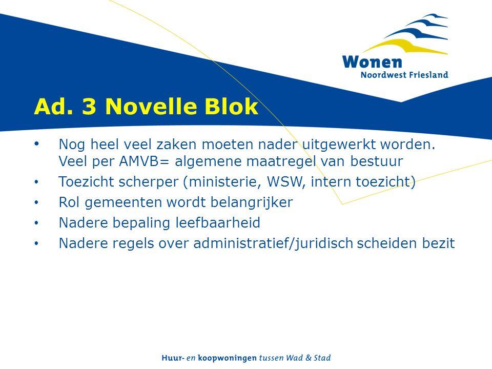 Ad. 3 Novelle Blok • Nog heel veel zaken moeten nader uitgewerkt worden. Veel per AMVB= algemene maatregel van bestuur • Toezicht scherper (ministerie