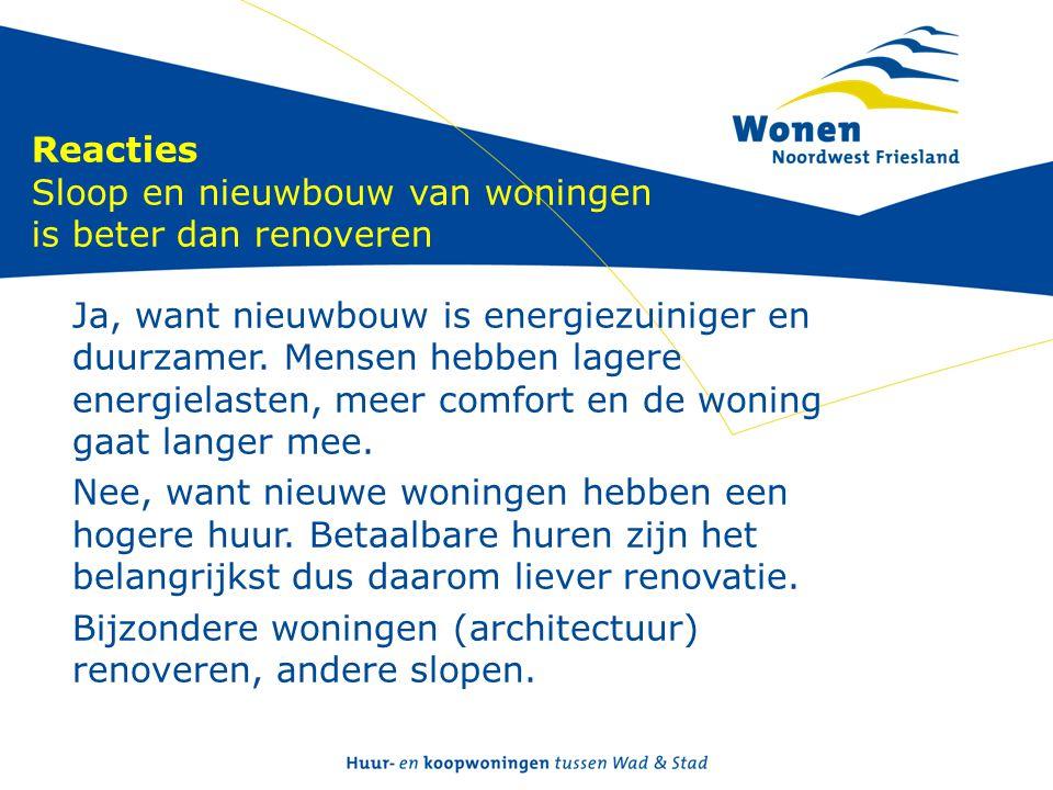 Reacties Sloop en nieuwbouw van woningen is beter dan renoveren Ja, want nieuwbouw is energiezuiniger en duurzamer. Mensen hebben lagere energielasten