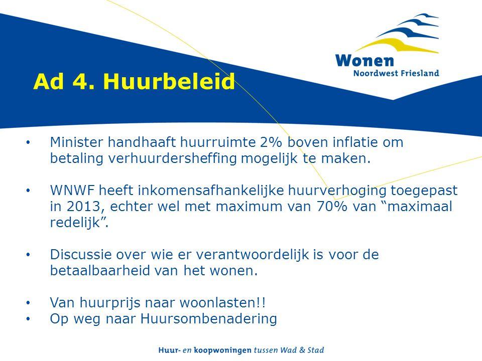Ad 4. Huurbeleid • Minister handhaaft huurruimte 2% boven inflatie om betaling verhuurdersheffing mogelijk te maken. • WNWF heeft inkomensafhankelijke
