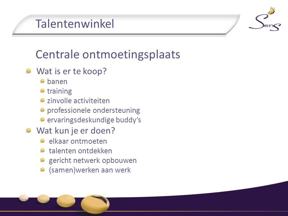 Talentenwinkel Centrale ontmoetingsplaats Wat is er te koop? banen training zinvolle activiteiten professionele ondersteuning ervaringsdeskundige budd