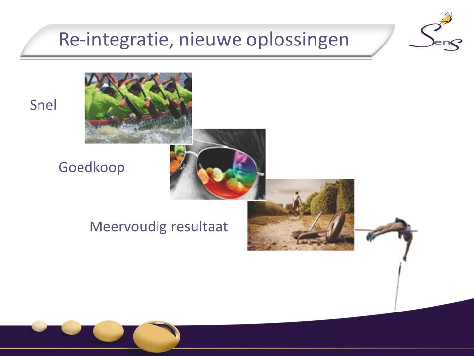 Re-integratie, nieuwe oplossingen Snel Goedkoop Meervoudig resultaat