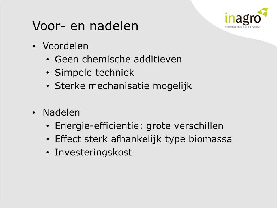 Voor- en nadelen • Voordelen • Geen chemische additieven • Simpele techniek • Sterke mechanisatie mogelijk • Nadelen • Energie-efficientie: grote verschillen • Effect sterk afhankelijk type biomassa • Investeringskost