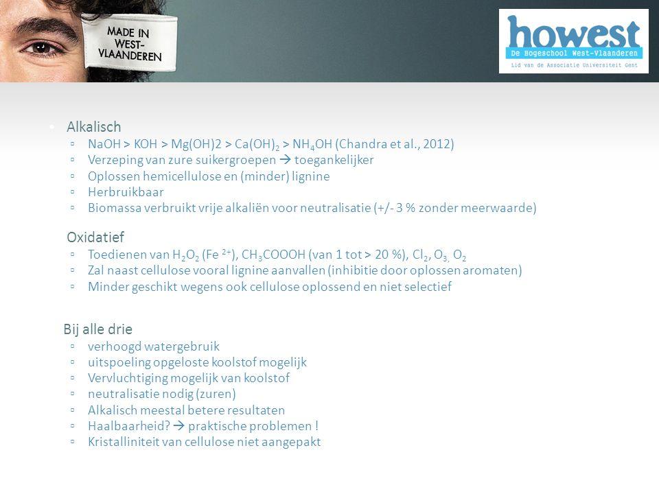 • Alkalisch ▫ NaOH > KOH > Mg(OH)2 > Ca(OH) 2 > NH 4 OH (Chandra et al., 2012) ▫ Verzeping van zure suikergroepen  toegankelijker ▫ Oplossen hemicell