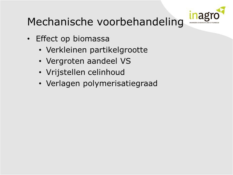 Mechanische voorbehandeling • Effect op biomassa • Verkleinen partikelgrootte • Vergroten aandeel VS • Vrijstellen celinhoud • Verlagen polymerisatieg