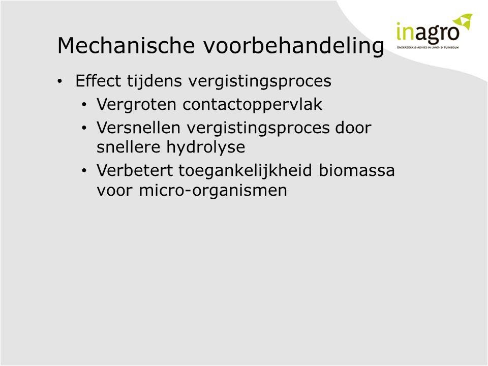 Mechanische voorbehandeling • Effect tijdens vergistingsproces • Vergroten contactoppervlak • Versnellen vergistingsproces door snellere hydrolyse • Verbetert toegankelijkheid biomassa voor micro-organismen