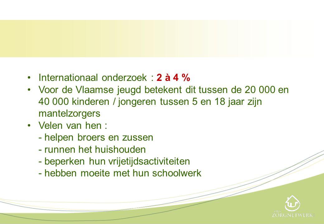 •Internationaal onderzoek : 2 à 4 % •Voor de Vlaamse jeugd betekent dit tussen de 20 000 en 40 000 kinderen / jongeren tussen 5 en 18 jaar zijn mantel