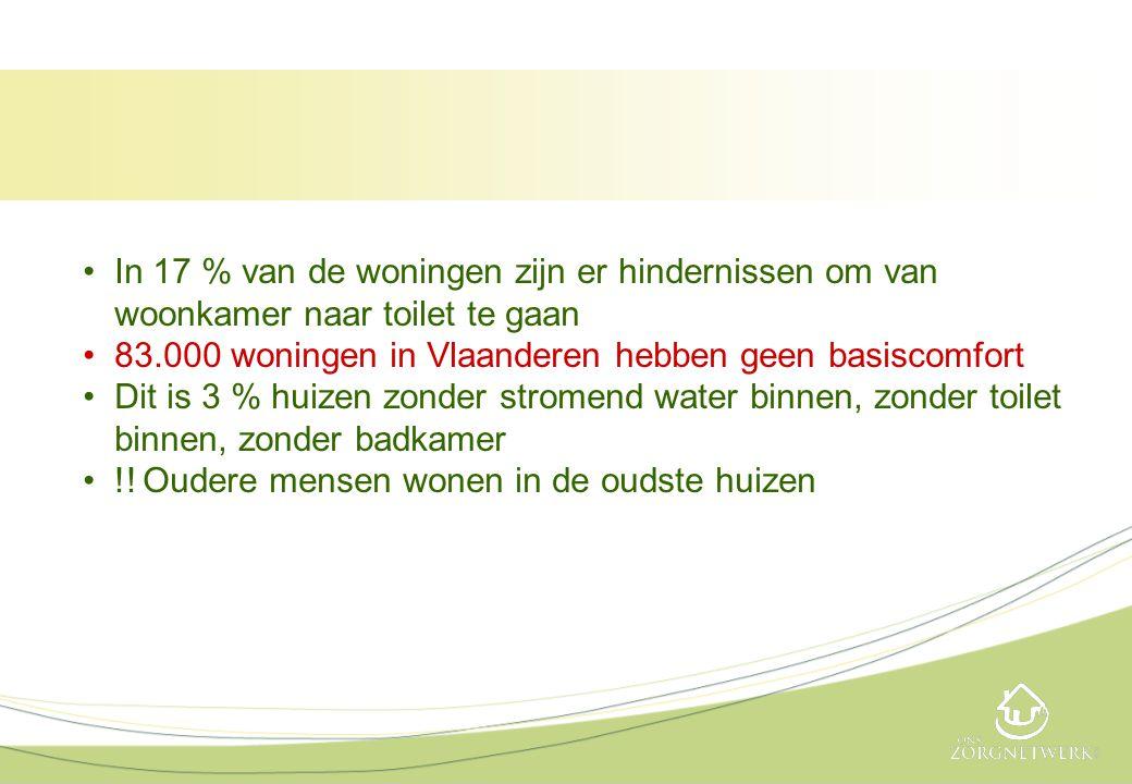•In 17 % van de woningen zijn er hindernissen om van woonkamer naar toilet te gaan •83.000 woningen in Vlaanderen hebben geen basiscomfort •Dit is 3 %