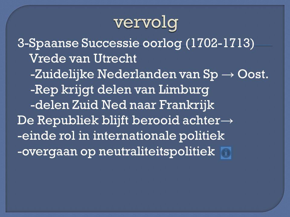 3-Spaanse Successie oorlog (1702-1713) Vrede van Utrecht -Zuidelijke Nederlanden van Sp → Oost. -Rep krijgt delen van Limburg -delen Zuid Ned naar Fra