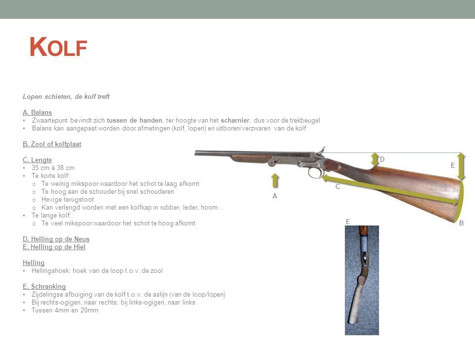 A B C D E K OLF Lopen schieten, de kolf treft A. Balans •Zwaartepunt bevindt zich tussen de handen, ter hoogte van het scharnier, dus voor de trekbeug