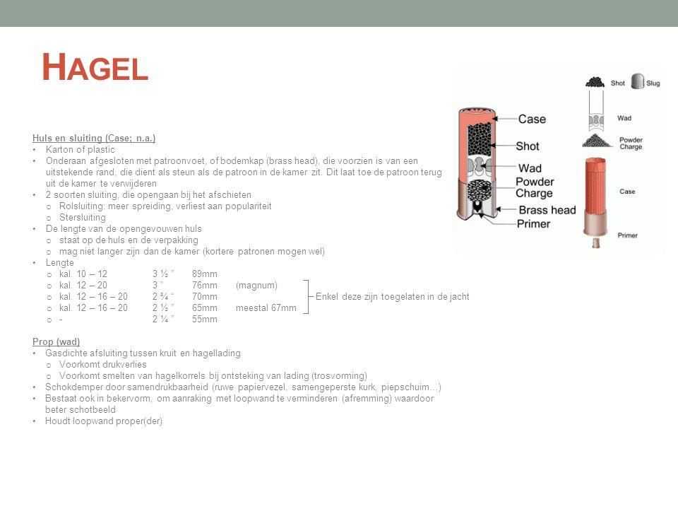 H AGEL Huls en sluiting (Case; n.a.) •Karton of plastic •Onderaan afgesloten met patroonvoet, of bodemkap (brass head), die voorzien is van een uitste