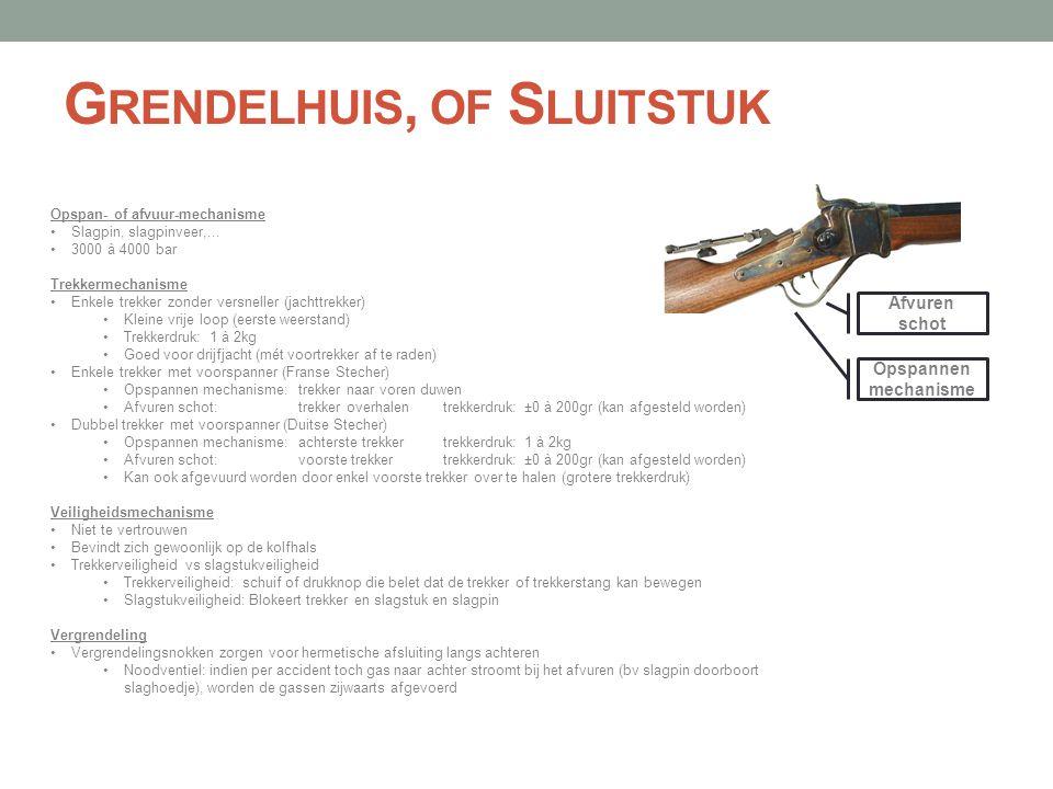 G RENDELHUIS, OF S LUITSTUK Opspan- of afvuur-mechanisme •Slagpin, slagpinveer,... •3000 à 4000 bar Trekkermechanisme •Enkele trekker zonder versnelle