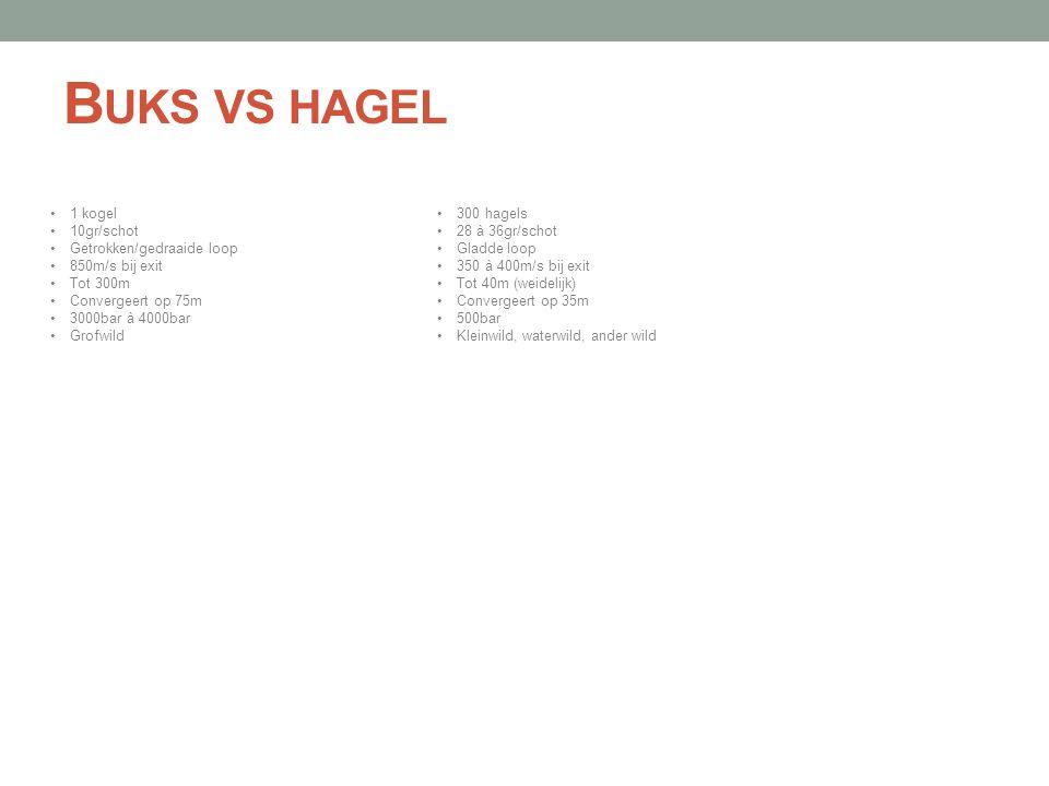 B UKS VS HAGEL •1 kogel •10gr/schot •Getrokken/gedraaide loop •850m/s bij exit •Tot 300m •Convergeert op 75m •3000bar à 4000bar •Grofwild •300 hagels