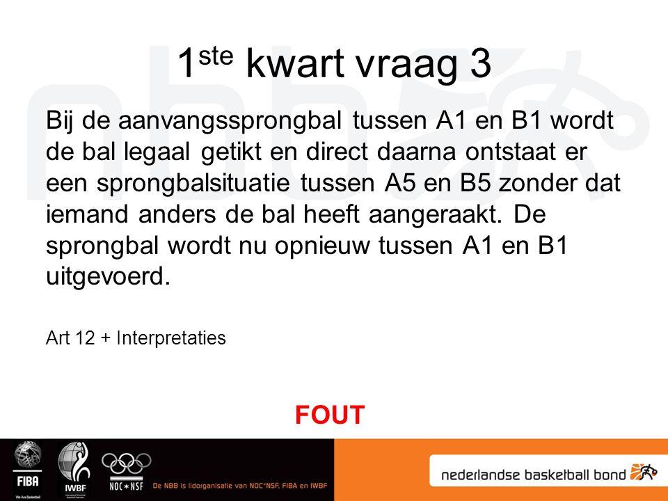1 ste kwart vraag 3 Bij de aanvangssprongbal tussen A1 en B1 wordt de bal legaal getikt en direct daarna ontstaat er een sprongbalsituatie tussen A5 e
